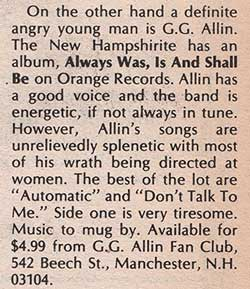 GG Allin Always Was, Is And Always Shall Be