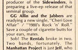 GG Allin & The Jabbers Cheri Love Affair