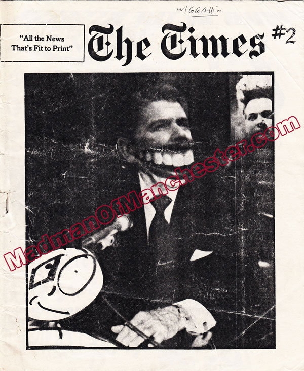 GG Allin The Times magazine